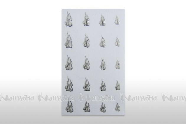 Nail Sticker Flames - Silber